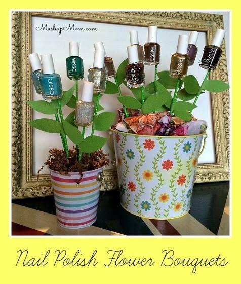 Funny DIY Nail Polish Flower Bouquet