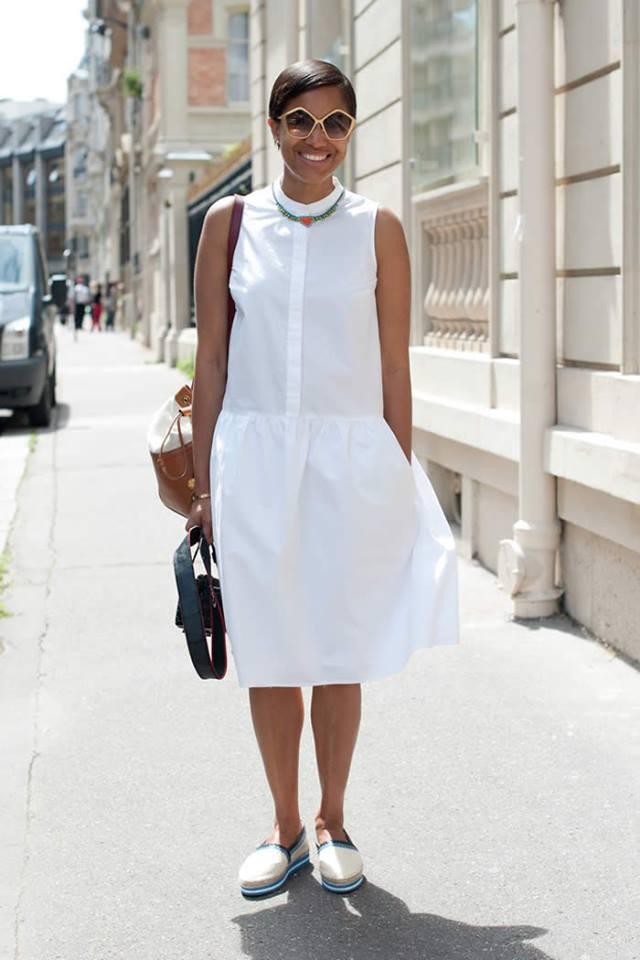 Glamorous White Cotton Dress With Flats