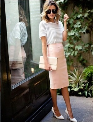 Gorgeous Stripes Top With Baby Pink Pencil Skirt