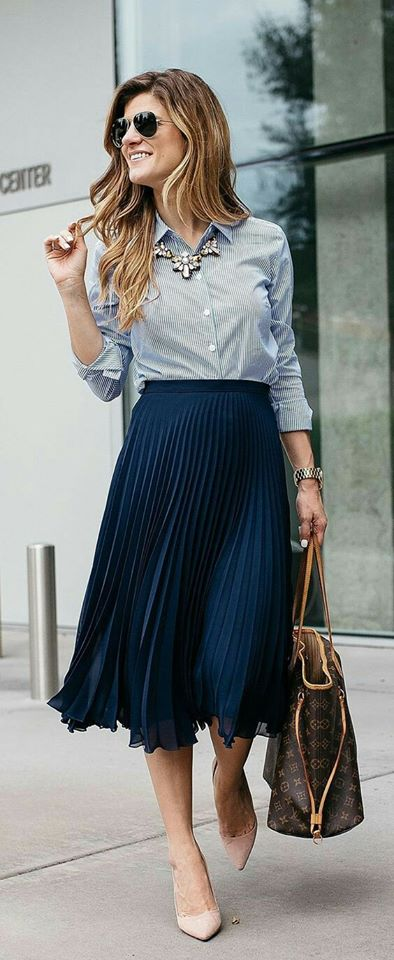 Grey Button Down Shirt Paired With Skirt And Handbag