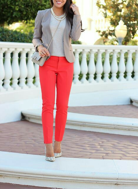 Grey Top With Red Crop Pant, Grey Blazer, Crossbody Bag And Polka Dot Pumps