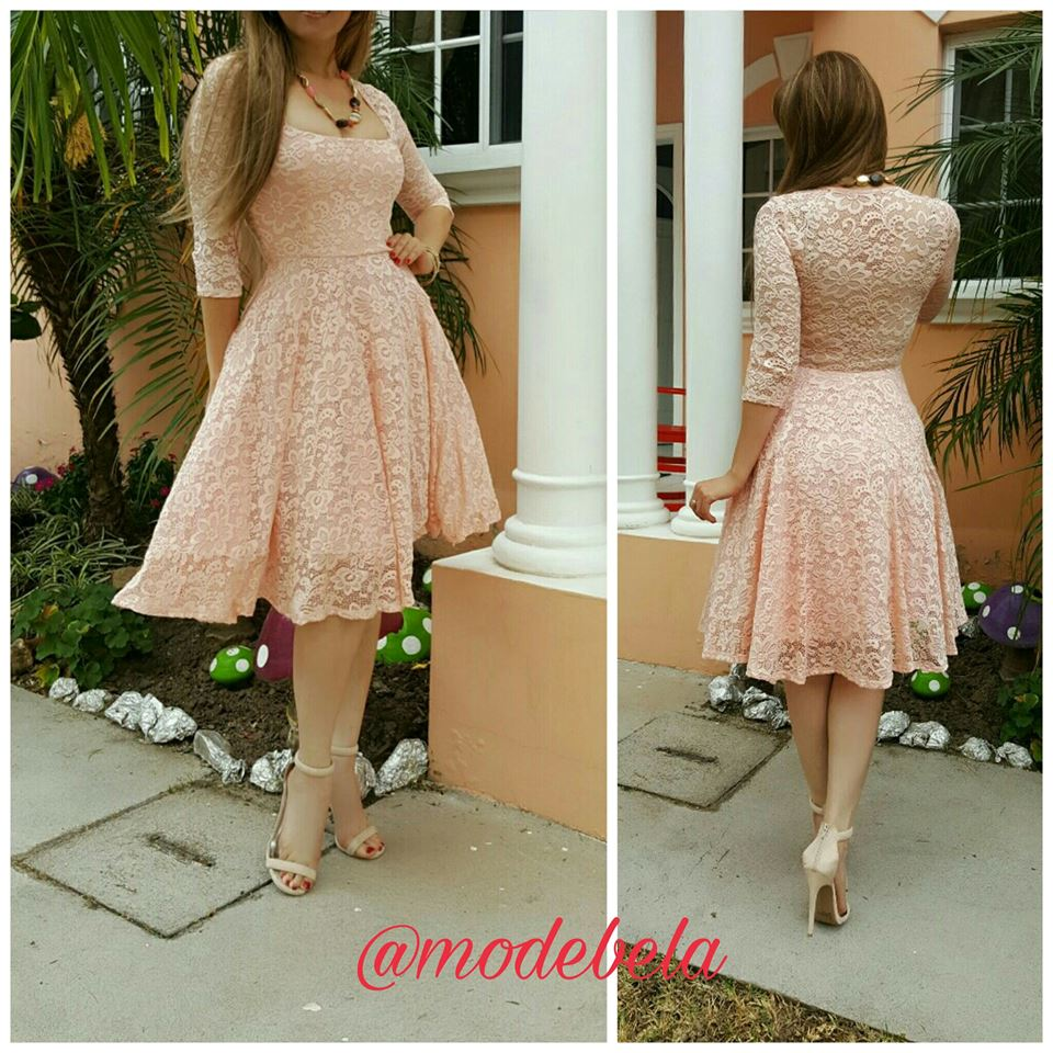 Impressive A-Line Lace Dress With Nude Pumps