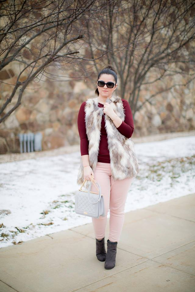 Maroon Top, Pink Legging And Half Sleeves Fur Jacket