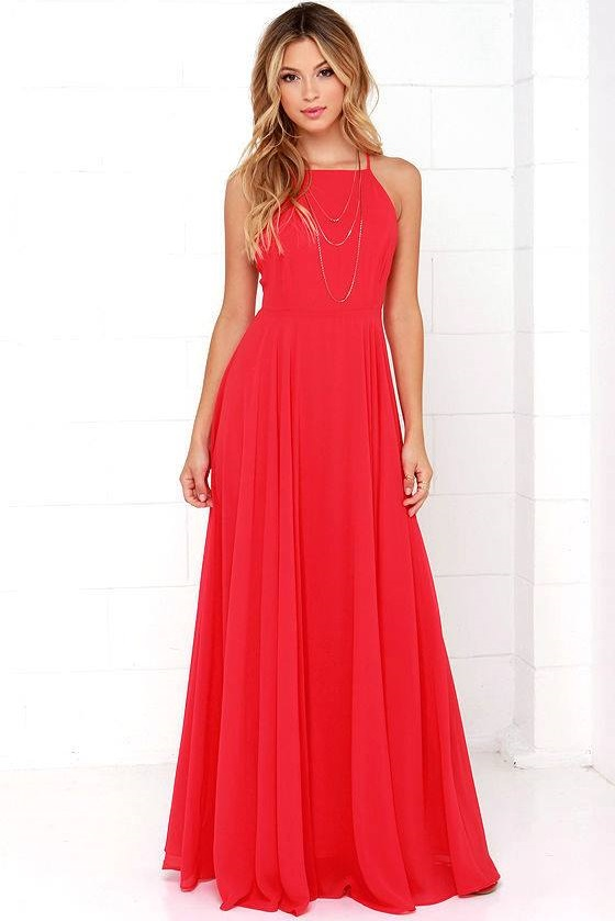 Marvelous Red Backless Maxi Dress For Dine Out