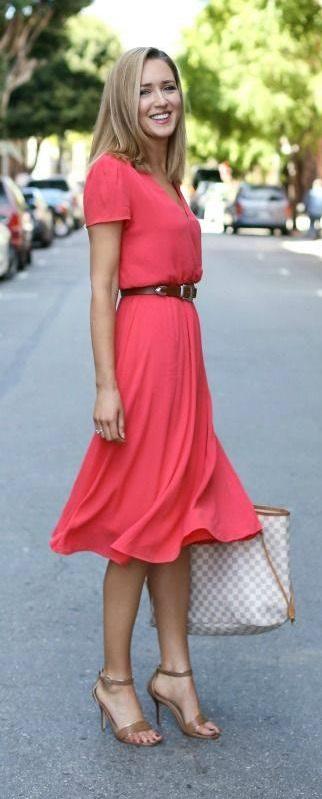 Marvelous Tee Length Dress With Waist Belt And Handbag