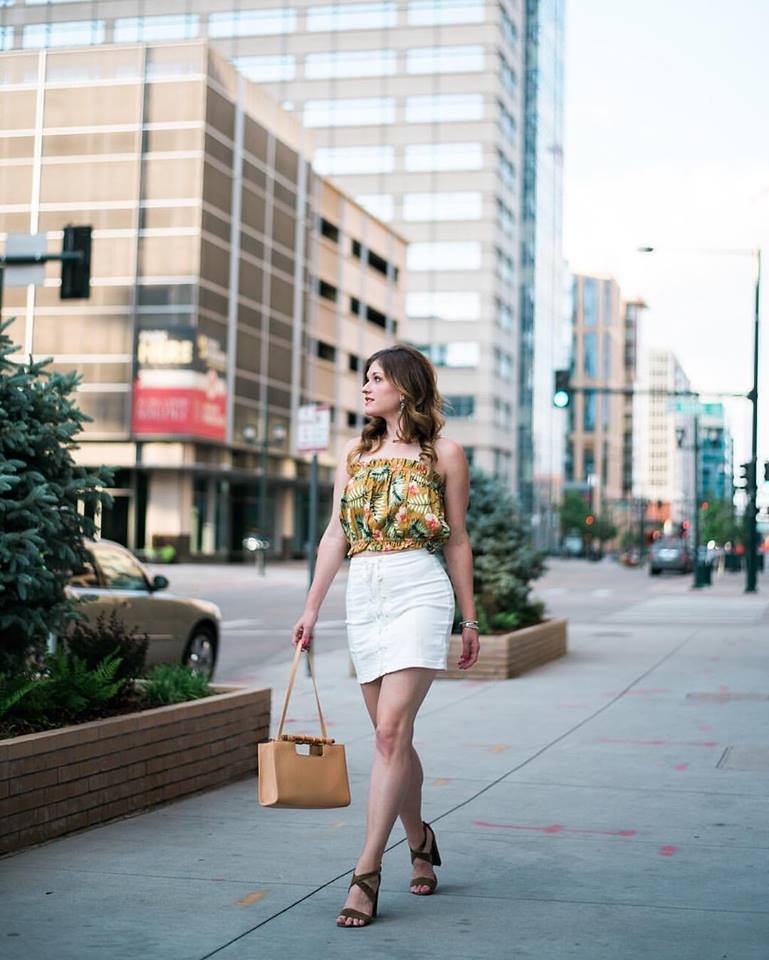 Nice Summer Style Crop Top With White Mini Skirt And Handbag