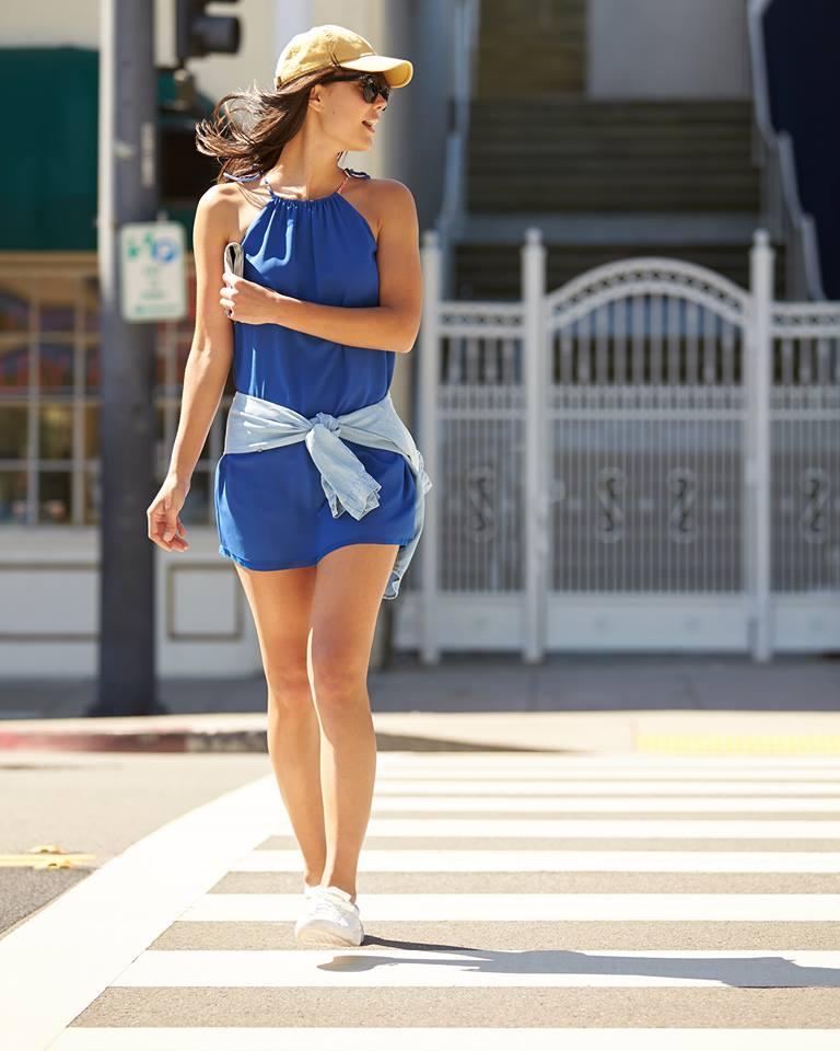 O-Neck Blue Dress With Sunglasses & Cap