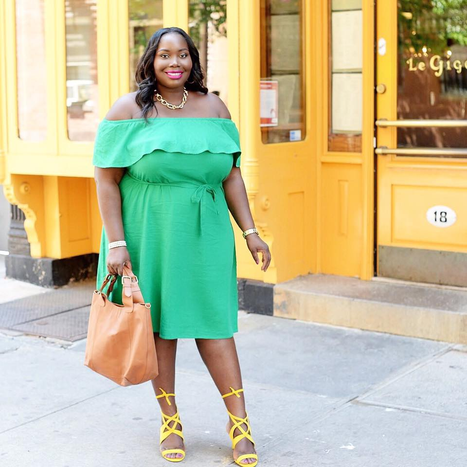 Off Shoulder Green Plus Size Outfit With Yellow Sandals