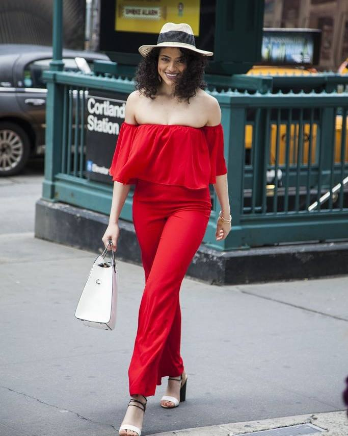 Off The Shoulder Red Romper With Handbag