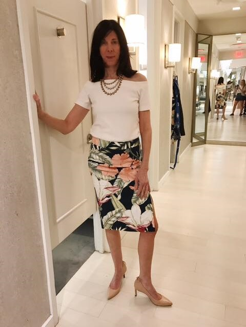 Off shoulder Top With Floral Print Skirt And Nude Heels
