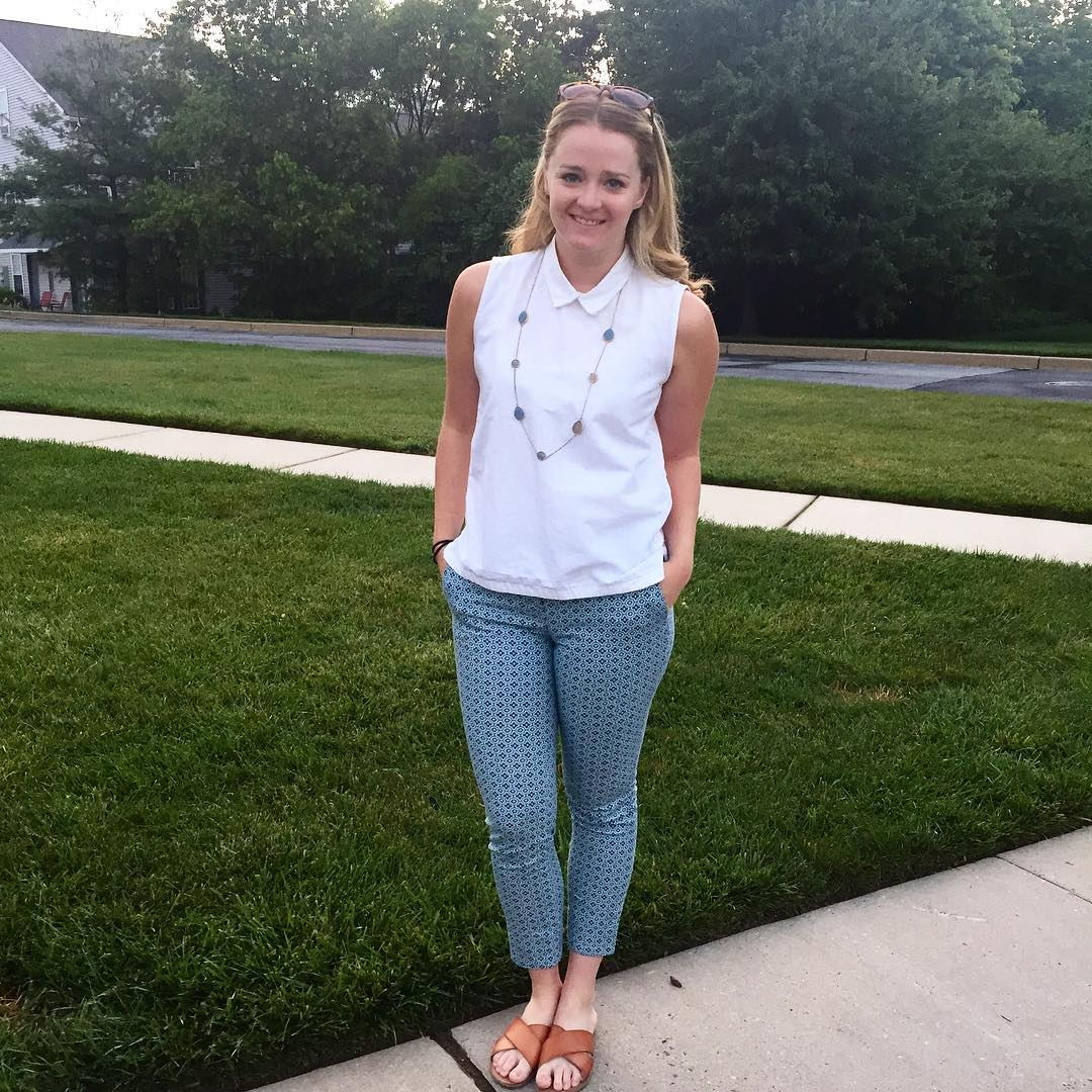Pattern Pant With White Top