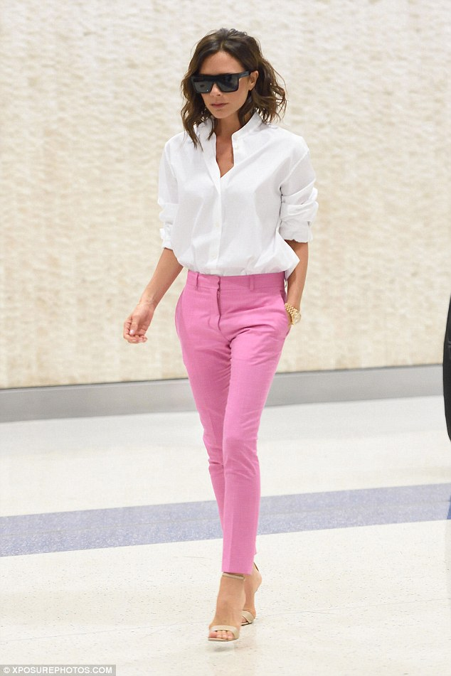 Pink Crop Pant With White Button Down Shirt Perfect For Work In Summer