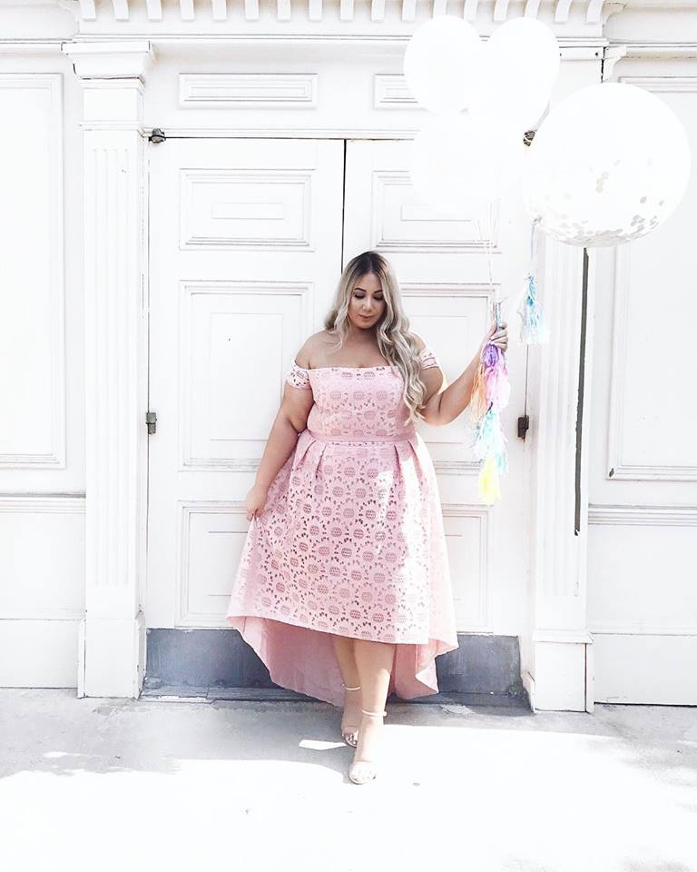 Pretty Pink Off Shoulder Summer Party Dress For Curvy Women