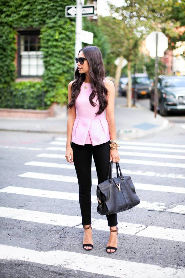 Pretty Pink Peplum Top With Jeans And Handbag