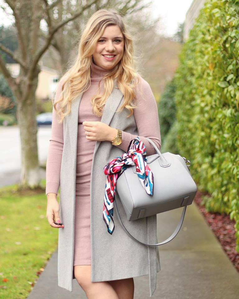 Pretty Pink Sweater With Half Sleeve Coat And Handbag