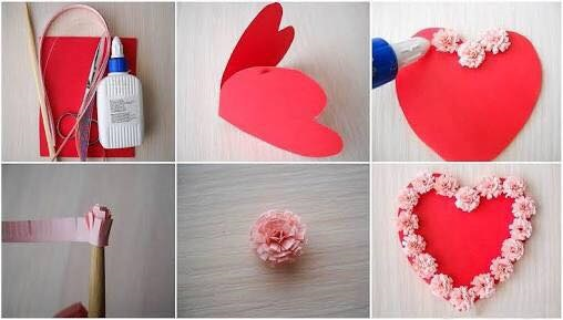 Red Heart Shape Card Is Decorated With Pink Paper Flowers