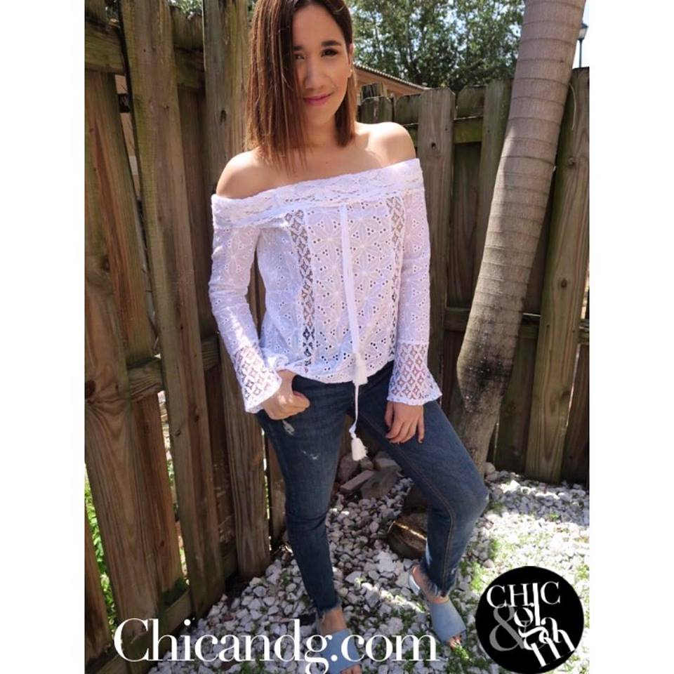 Sassy White Ruffle Blouse With Ripped Jeans