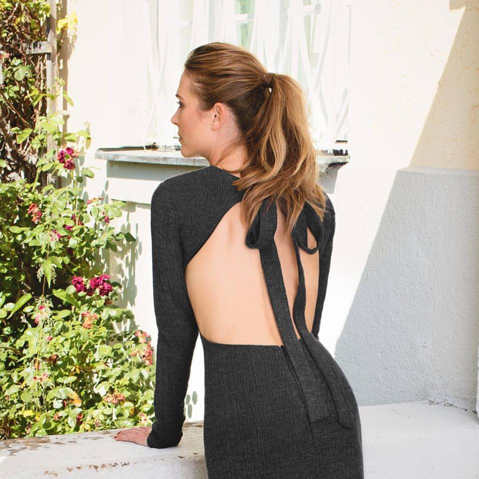 Smart Dull Black Backless Dress Tie On Back
