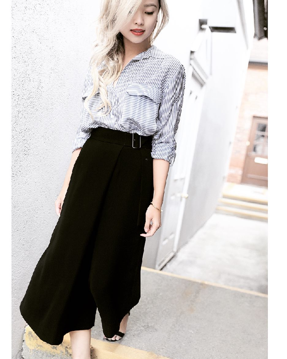 Striped Shirt With Black High Waist Culottes