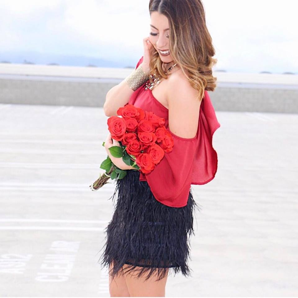 Stunning Off The Shoulder Red Top With Black Feather Mini Skirt
