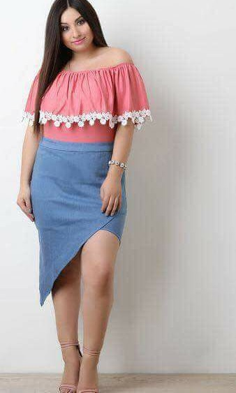 Stylish Denim Skirt With Off Shoulder Top