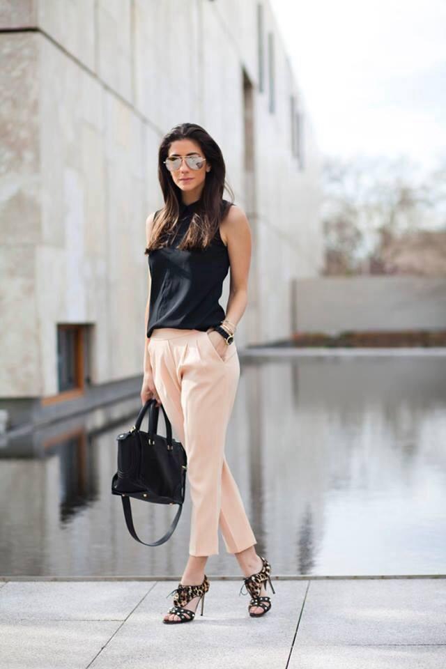 Swanky Black Top With Crop Pant, Handbag And High Heels