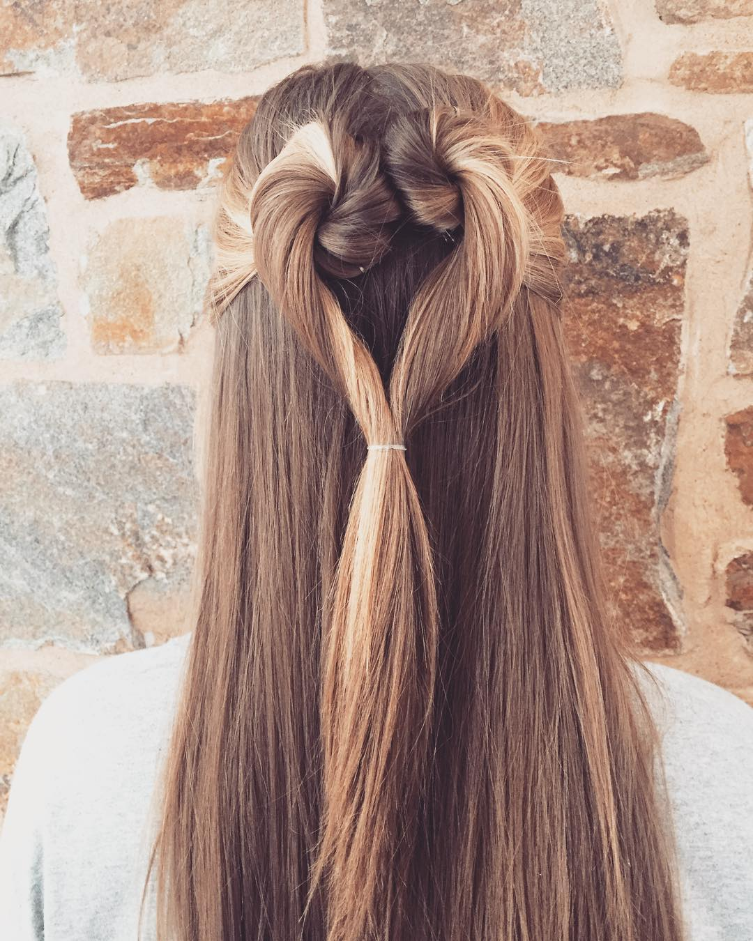 Twisted Half Up And Half Down Heart Hairstyle