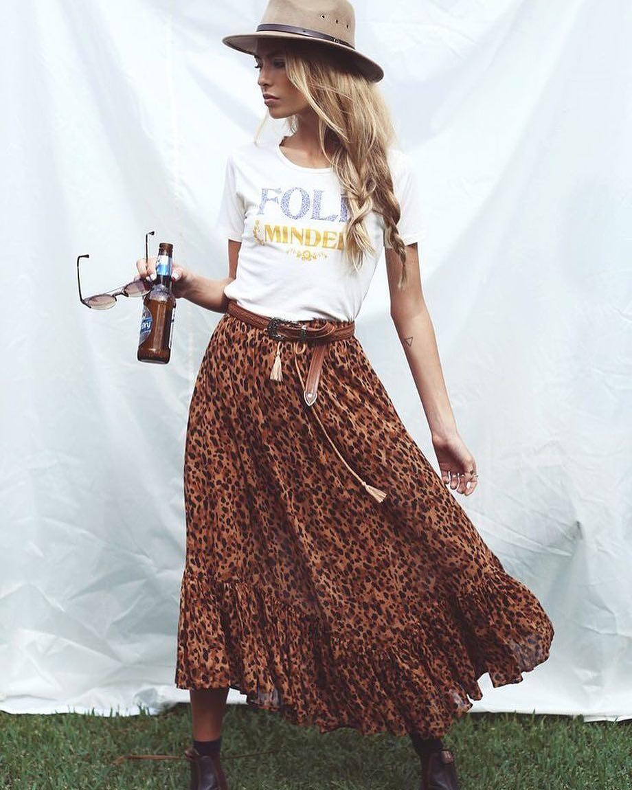Vibrating Boho Style Leopard Print Skirt, T-Skirt And Hat For Summer