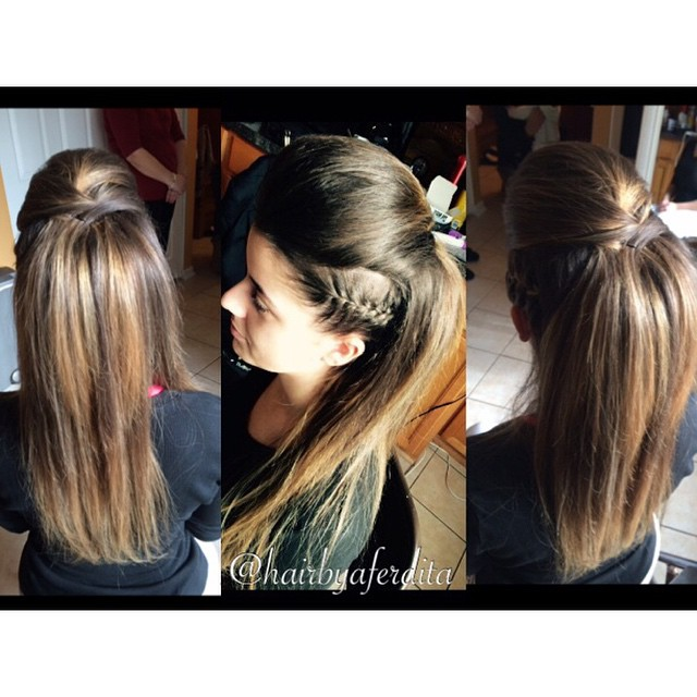 Volumous Straight Hair With Side Braid