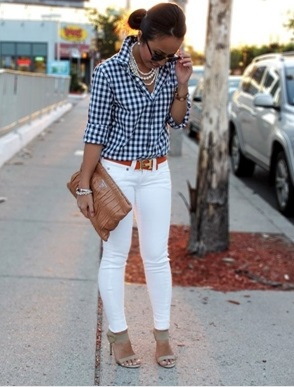 Wonderful Gingham Print Shirt With White Jeans