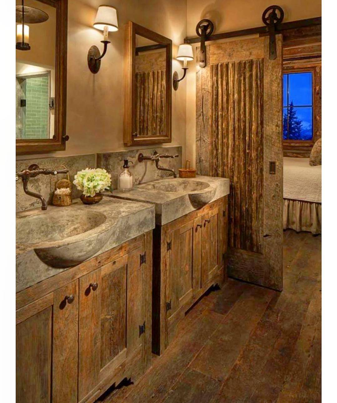 Adorable Rustic Bathroom With Concrete Sink