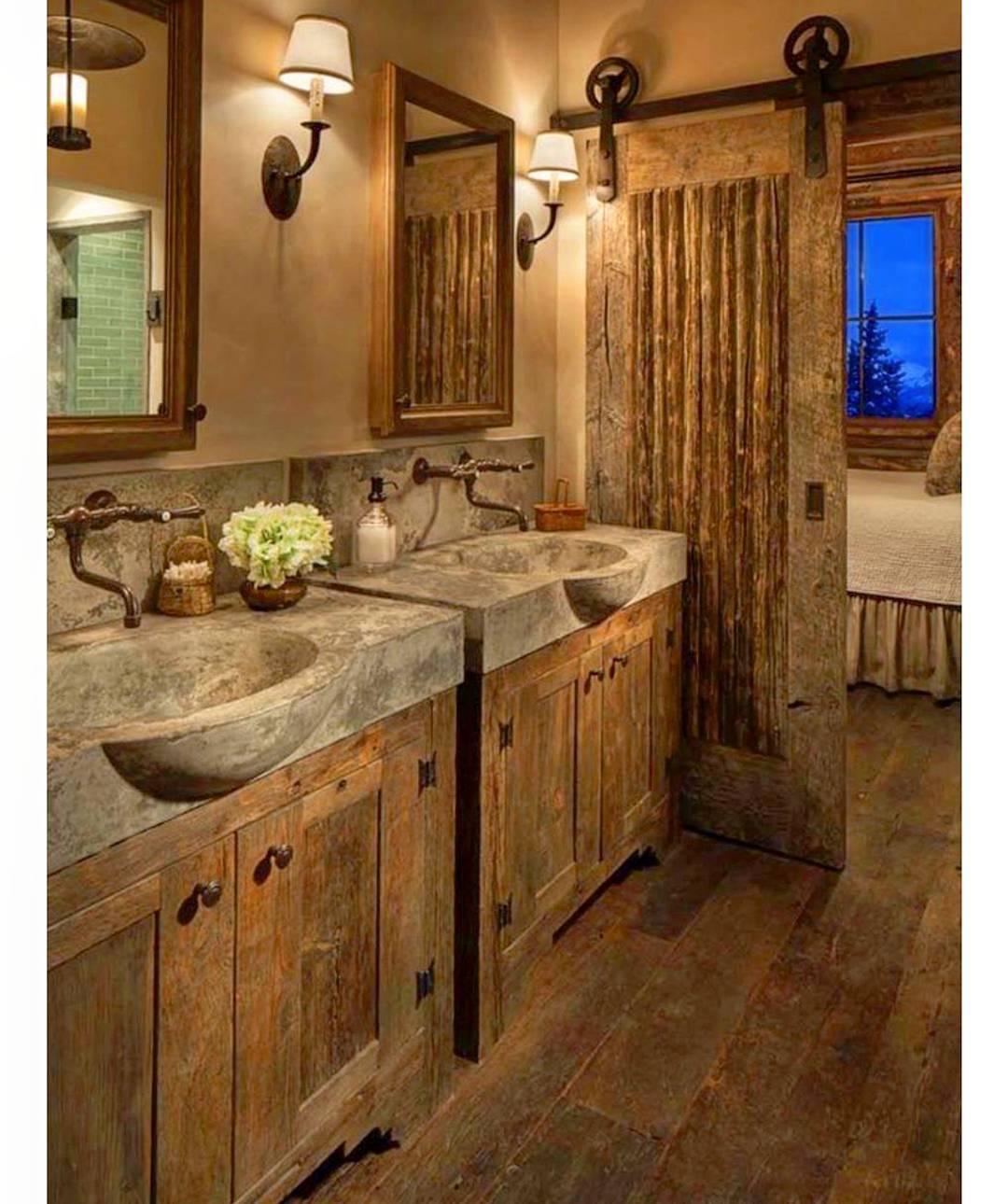 #1 Adorable Rustic Bathroom With Concrete Sink Via