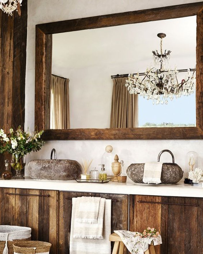 Airy, Fresh, Modern Touch Rustic Bathroom With Beautiful Chandelier