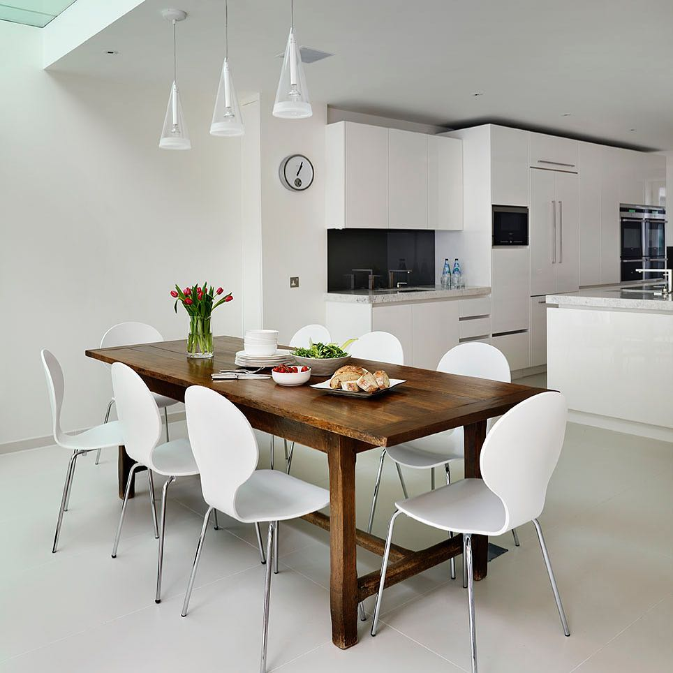 All White With Wooden Dining Table