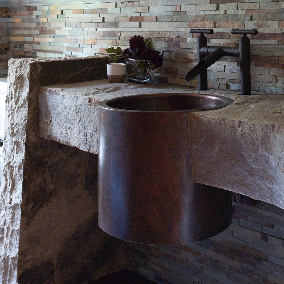 Alluring Copper Sink Molded Into Stone