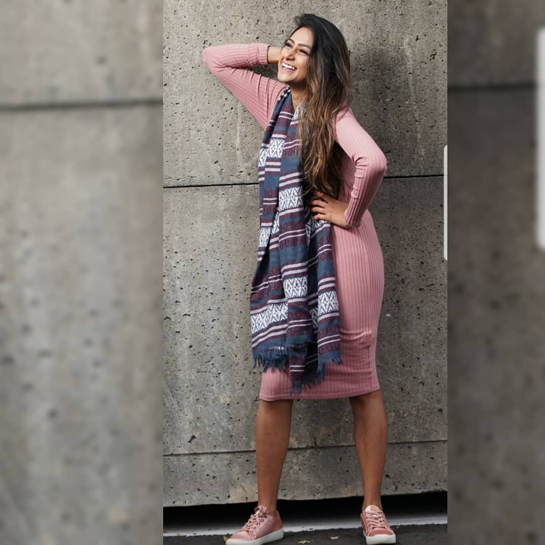 Alluring Pink Sweater Dress With Shawl And Sneakers