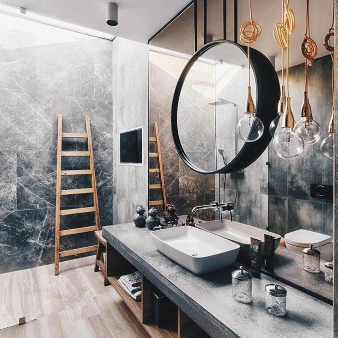 Amazing Combination Of Marble, Wood And Concrete Countertop For Rustic Bathroom