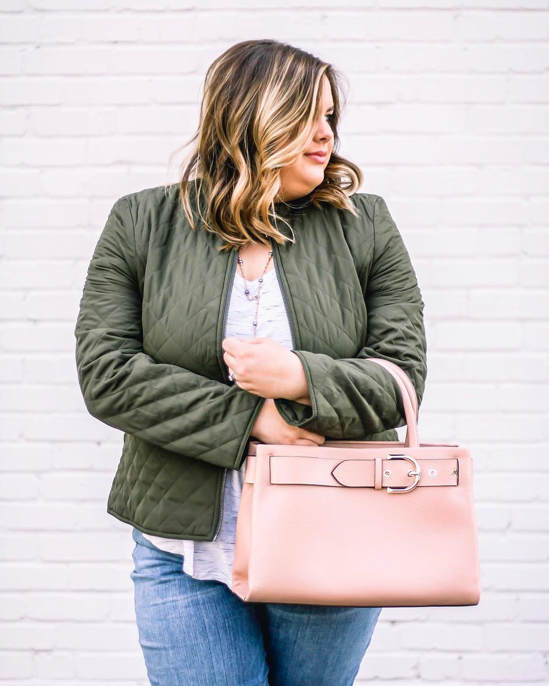 Army Green Quilted Jacket Perfect For Spring