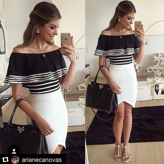 Asymmetric Skirt With Off Shoulder Top