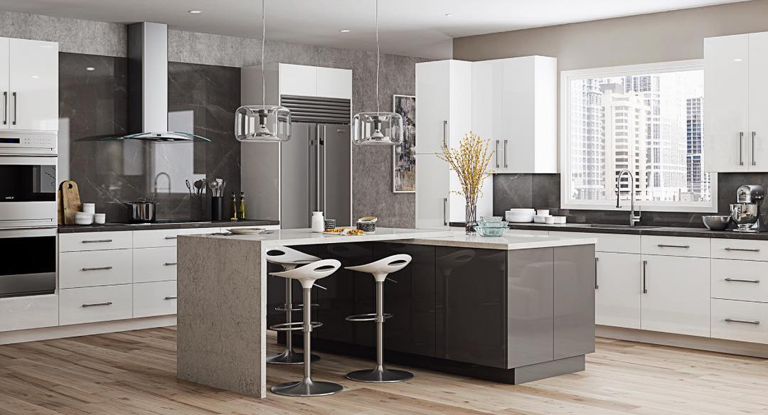 Attractive & Affordable High Gloss Or Matte Finished Slab Door Cabinetry In Contemporary Kitchen