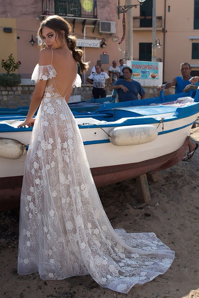 Awesome Backless Transparent Floral Wedding Dress