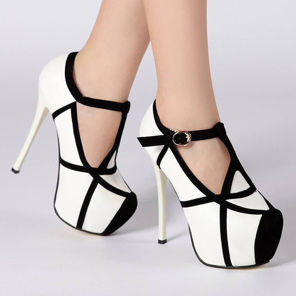Awesome Black & White Stiletto High Heels