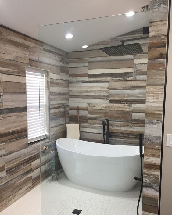 Awesome Freestanding Tub, Hexagonal Tiles, Doorless Rustic Bathroom