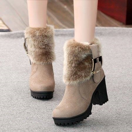 Beige Round Toe Ankle Slip-On Suede High Heel Boots