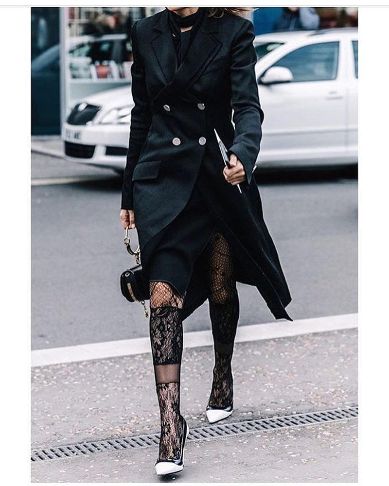 Black Overcoat For Fall With Beautiful Stockings