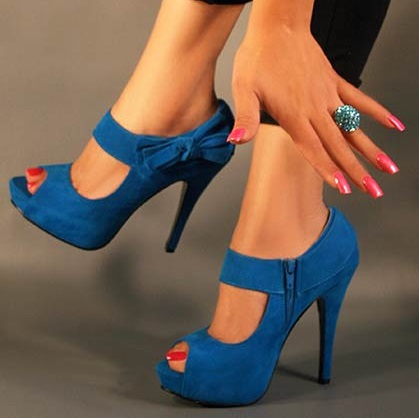 Blue Open Toe High Heel With Ribbon And Side Zip