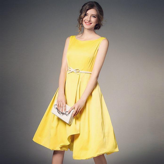 Bright Yellow 1950's Style Wind Swing Summer Dress