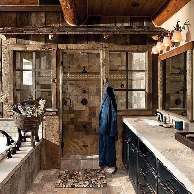 Charismatic Spa Theme Rustic Bathroom