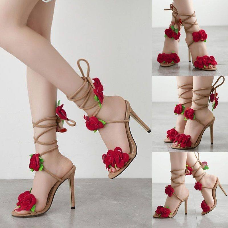 Charming Suede Open Toe High Heel Lace Up Rose Flower Sandals