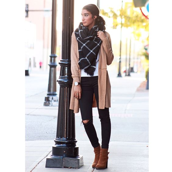 Check Scarf, Cardigan And Suede Booties Perfect In Fall Season